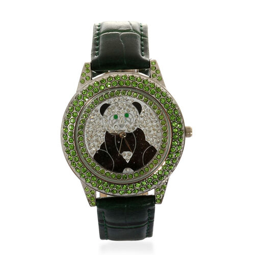 GENOA Japanese Movement White, Black and Green Austrian Crystal Water Resistant Watch in ION Plated Silver with Croc Embossed Green Strap