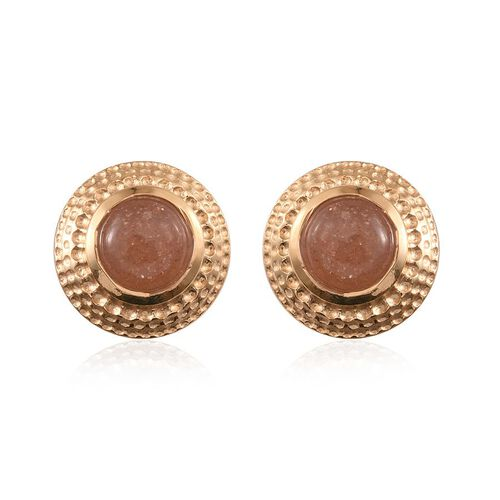 Morogoro Peach Sunstone (Rnd) Stud Earrings (with Push Back) in 14K Gold Overlay Sterling Silver 1.750 Ct.