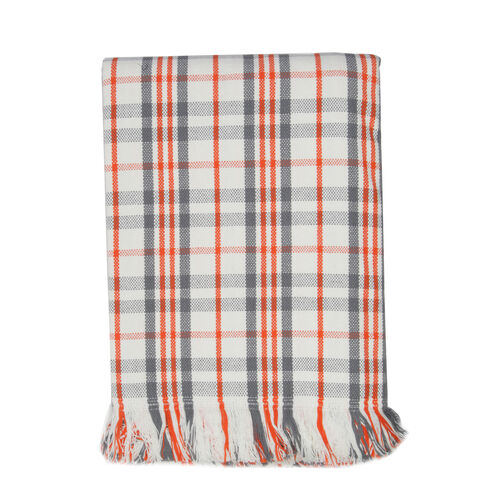 100% Cotton White, Grey, Orange Colour Tartan Check Pattern Throw with Both Side Fringes (Size 240x150 Cm)