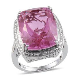 Kunzite Colour Quartz (Cush 20.00 Ct), Diamond Ring in Platinum Overlay Sterling Silver 20.010 Ct.