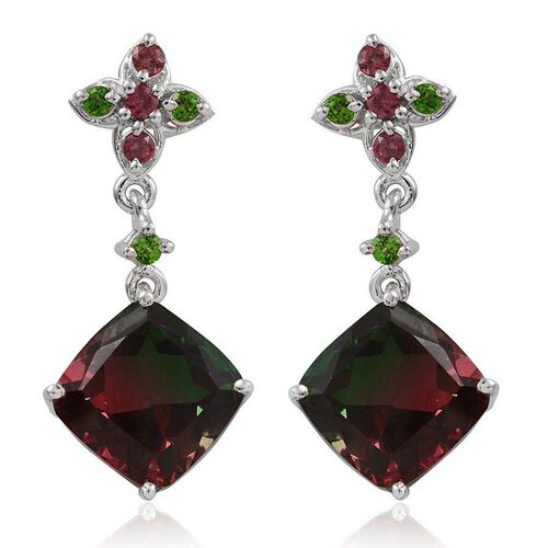Tourmaline Colour Quartz (Cush), Rhodolite Garnet and Russian Diopside Earrings in Platinum Overlay Sterling Silver 8.900 Ct.