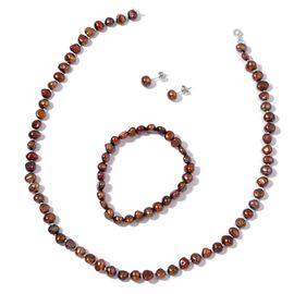 Fresh Water Chocolate Pearl Necklace (Size 18), Stretchable Bracelet (Size 7) and Ball Stud Earrings (with Push Back) in Rhodium Plated Sterling Silver