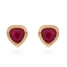 ILIANA 18K Y Gold Burmese Ruby (Hrt) Stud Earrings (with Screw Back) 1.000 Ct.