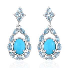 Arizona Sleeping Beauty Turquoise (Ovl), Swiss Blue Topaz Earrings (with Push Back) in Platinum Overlay Sterling Silver 4.160 Ct.