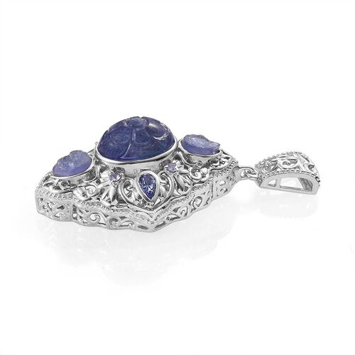 Designer Inspired Tanzanite (Ovl 8.75 Ct), Burmese Ruby Pendant in Platinum Overlay Sterling Silver 11.500 Ct.
