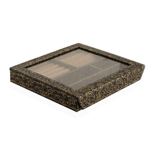 Hand Crafted - Eco Leatherette Paisley Pattern Black and Golden Colour Ring and Earrings Storage Box (Size 24x22x4 Cm)