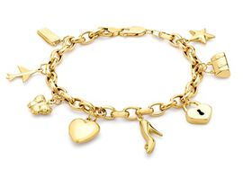 Close Out Deal 9K Y Gold Multi Charm Bracelet (Size 8), Gold wt 10.40 Gms.