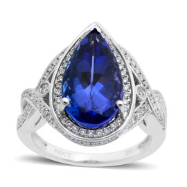 ILIANA 18K W Gold AAA Tanzanite (Pear 4.25 Ct), Diamond Ring 4.775 Ct.