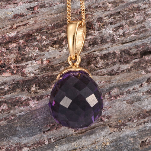 Checkerboard Cut AA Lusaka Amethyst Pendant With Chain in 14K Gold Overlay Sterling Silver 7.000 Ct.