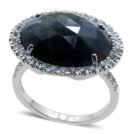 Natural Silver Sapphire (Ovl 9.11 Ct), White Sapphire Ring in Rhodium Plated Sterling Silver 10.250 Ct.