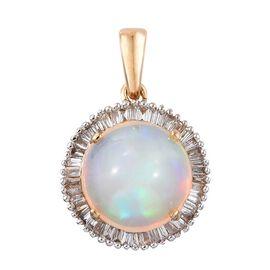 ILIANA 18K Y Gold AAAA Wegeltena Welo Opal (Rnd 2.50 Ct), Diamond Pendant 2.750 Ct.