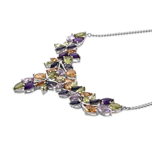 Celebrity Inspired Hebei Peridot,Amethyst, Rose De France,Citrine and Iolite RAINBOW Necklace (Size 18) in Platinum Overlay Sterling Silver 18.000 Ct. Silver Wt 15.50 Gms