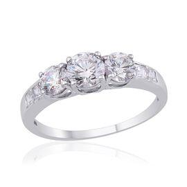 J Francis - Platinum Overlay Sterling Silver (Rnd) Ring Made with SWAROVSKI ZIRCONIA 2.020 Ct.
