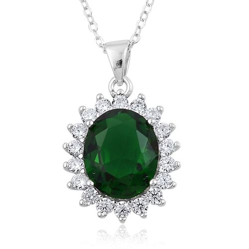 AAA Simulated Russian Diopside and Simulated White Diamond Pendant With Chain in Rhodium Plated Sterling Silver