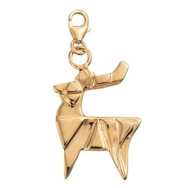 Origami Reindeer Silver Charm Pendant in Gold Overlay