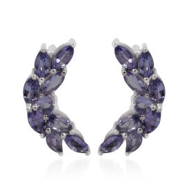 Tanzanite (Mrq) Climber Earrings in Platinum Overlay Sterling Silver 2.500 Ct.