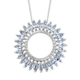 Espirito Santo Aquamarine (Mrq) Circle Pendant with Chain in Platinum Overlay Sterling Silver 1.750 Ct.