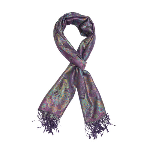 SILK MARK - 100% Superfine Silk Purple and Multi Colour Jacquard Scarf with Fringes (Size 180x70 Cm) (Weight 125 - 140 Grams)