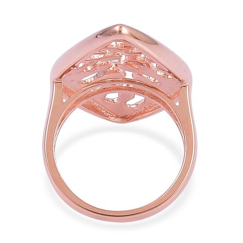 LucyQ Oval Wave Ring in Rose Gold Overlay Sterling Silver 7.12 Gms.