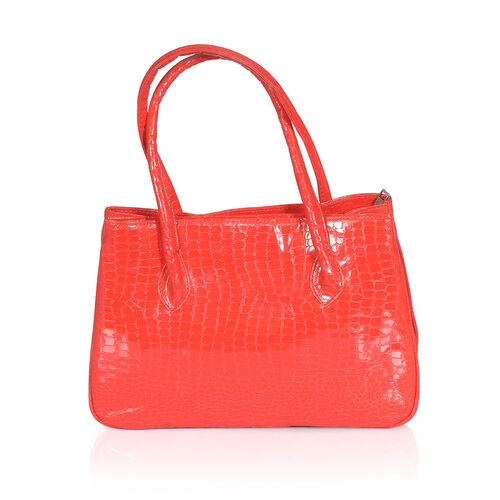 Croc Embossed Red Colour Hand Bag (Size 10.5x5x9 inch)