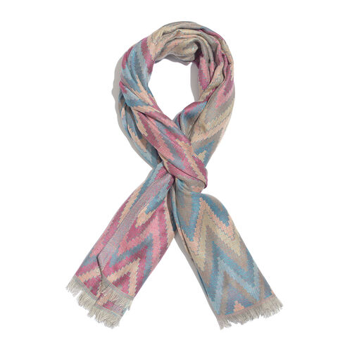 Red, Dark Blue and Multi Colour Jacquard Chevron Pattern Multi Colour Scarf with Tassels (Size 180x70 Cm)
