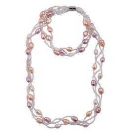 Fresh Water Pink, Peach and Purple Pearl Necklace (Size 18) and Bracelet (Size 7.50) in Silver Bond
