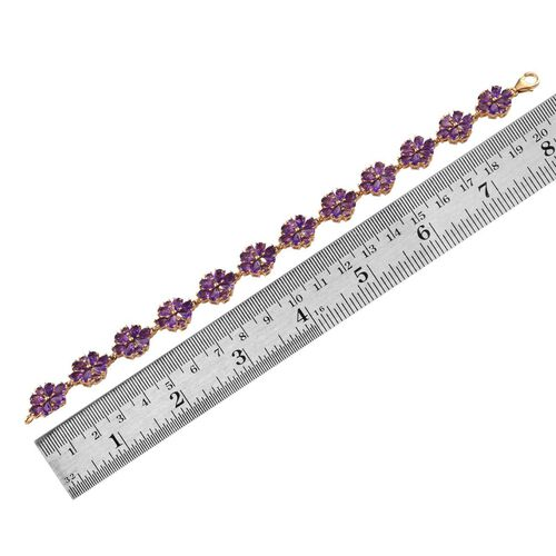 Zambian Amethyst (Pear) Floral Bracelet in 14K Gold Overlay Sterling Silver (Size 7.5) 14.000 Ct.