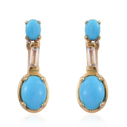 Arizona Sleeping Beauty Turquoise (Ovl), White Topaz Earrings (with Push Back) in 14K Gold Overlay Sterling Silver 1.750 Ct.
