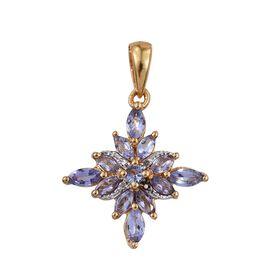 Tanzanite (Mrq), Diamond Pendant in 14K Gold Overlay Sterling Silver 1.010 Ct.