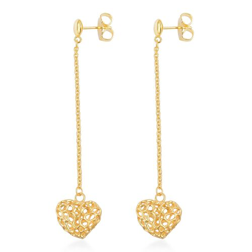 RACHEL GALLEY Yellow Gold Overlay Sterling Silver Amore Heart Lattice Earrings (with Push Back), Silver wt 5.67 Gms.