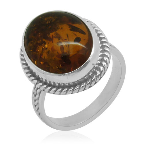 Royal Bali Collection Baltic Amber (Ovl) Solitaire Ring in Sterling Silver 3.490 Ct.