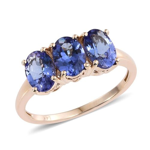 14K Y Gold AA Tanzanite (Ovl) Trilogy Ring 3.000 Ct.
