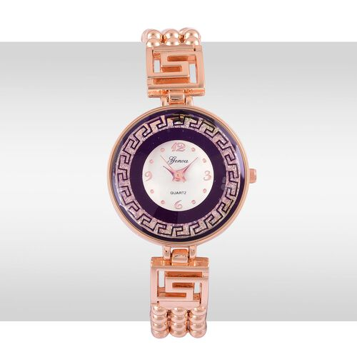 Limited Edition- Greek Key GENOA Japanese Movement White Dial with White Austrian Crystal Water Resistant Purple Colour Watch in Rose Gold Tone with Stainless Steel Back and Chain Strap