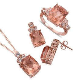 Galileia Blush Pink Quartz (Cush), White Topaz Ring, Pendant With Chain and Stud Earrings (with Push Back) in Rose Gold Overlay Sterling Silver 21.000 Ct.