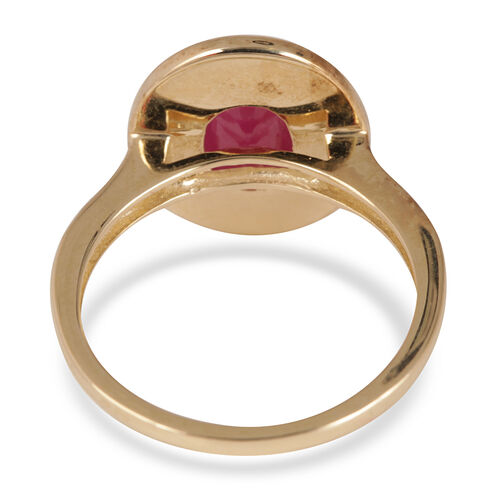 9K Y Gold Burmese Ruby (Ovl 1.50 Ct), Natural Cambodian White Zircon Ring 2.000 Ct.