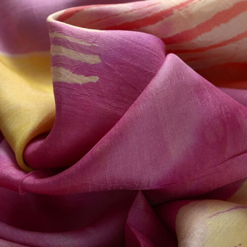 100% Mulberry Silk Purple, Yellow and Multi Colour Abstract Pattern Scarf (Size 180x100 Cm)