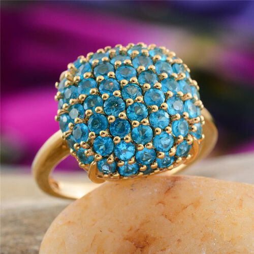 Malgache Neon Apatite (Rnd) Cluster Ring in 14K Gold Overlay Sterling Silver 2.750 Ct.
