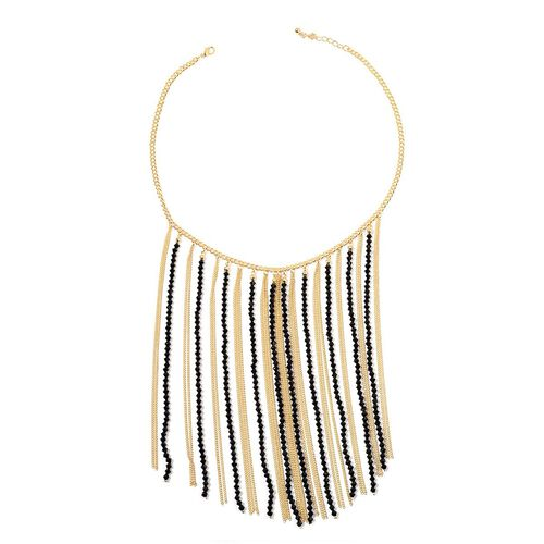 Black Seed Beaded Necklace (Size 20) in Gold Tone