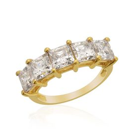 J Francis - 14K Gold Overlay Sterling Silver (Sqr) 5 Stone Ring Made with SWAROVSKI ZIRCONIA 3.550 Ct.
