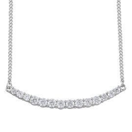 J Francis - Platinum Overlay Sterling Silver (Rnd) Necklace (Size 18) Made with SWAROVSKI ZIRCONIA 1.800 Ct.