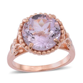 Rose De France Amethyst (Rnd 5.75 Ct), White Zircon Ring in Rose Gold Overlay Sterling Silver 6.000 Ct.