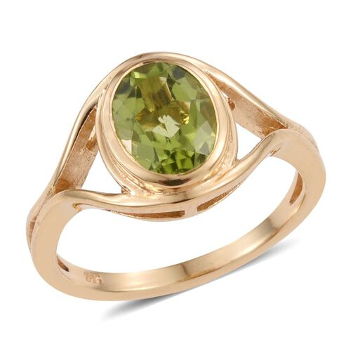 Hebei Peridot (Ovl) Solitaire Ring in 14K Gold Overlay Sterling Silver 1.750 Ct.