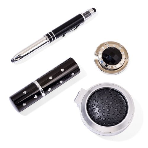 Travel Set - Simulated Diamond Filled Black Colour Ball Pen with Flash Light, Crystal Studded Pocket Perfume, Bag Hook and Compact Comb in Silver Tone