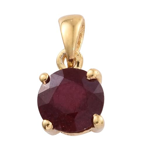 African Ruby 1.25 ct. Round Silver Solitaire Pendant in Gold Overlay