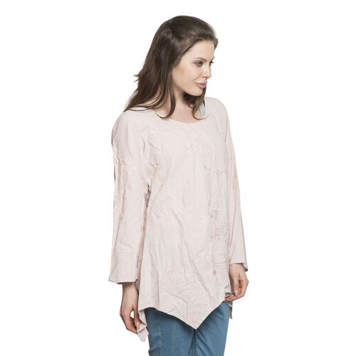 New For Season - 100% Cotton Leaves and Floral Embroidered Soft Pink Colour Apparel (Free Size)