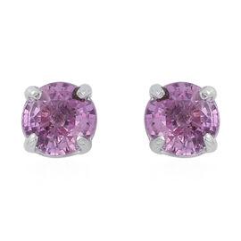 Pink Sapphire (Rnd) Stud Earrings in Rhodium Plated Sterling Silver 1.000 Ct.