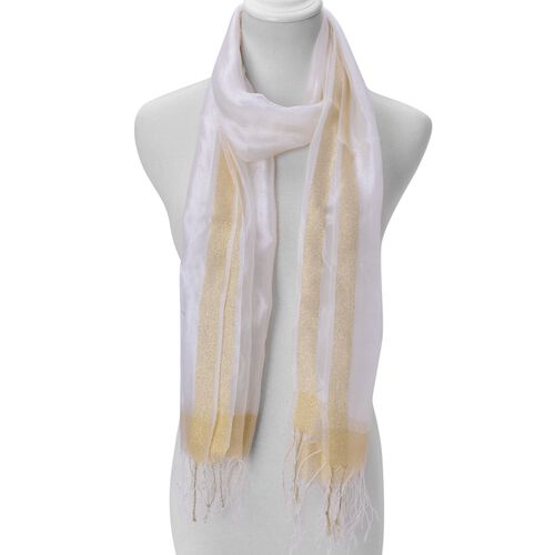 White Colour Scarf with Golden Thread and Fringes at the Bottom 50 percent SILK 50 percent polyester (Size 180x65 Cm)