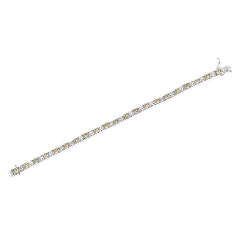 Close Out Deal AAA Simulated Peridot (Rnd), Simulated White Diamond Tennis Bracelet (Size 7.5) in Silver Bond