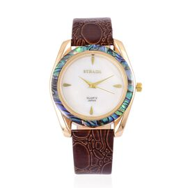 STRADA Mother of Pearl and Ablone Shell Bezel Japanese Movement Croc Embossed Watch Yellow Gold Tone