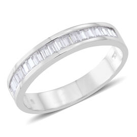 Signature Collection - ELANZA AAA Simulated White Diamond (Bgt) Half Eternity Band Ring in Rhodium Plated Sterling Silver